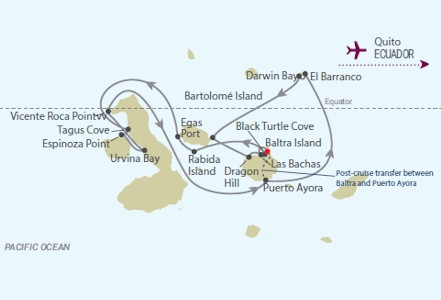 Celebrity Cruises | 13-Nights Galapagos Island Cruise & Puerto Ayora/Quito #1 Iinerary Map