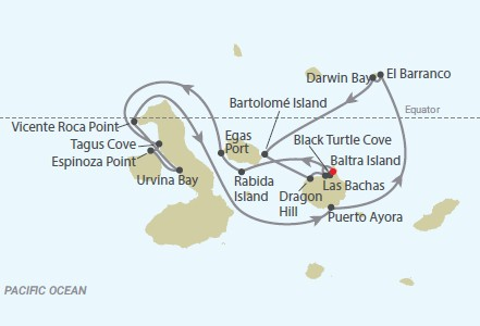 Celebrity Cruises | 7-Nights Galapagos Islands Cruise #1 Iinerary Map