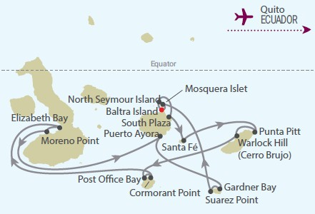 Celebrity Cruises | 11-Nights Galapagos Island Cruise & Quito #2 Iinerary Map