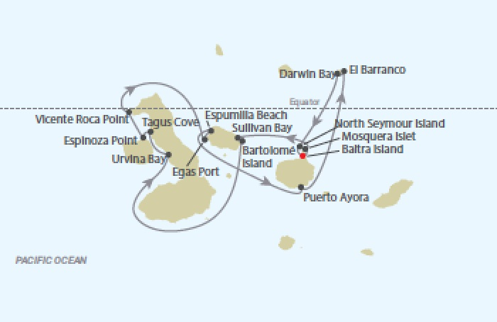 Celebrity Cruises | 10-Nights Galapagos Islands Northern Loop & Quito Iinerary Map