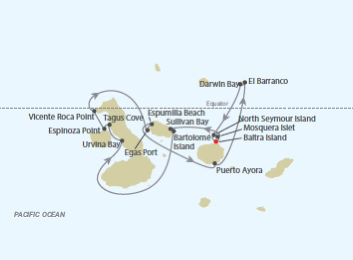 Celebrity Cruises | 13-Nights Galapagos Islands Northern Loop & Puerto Ayora Iinerary Map