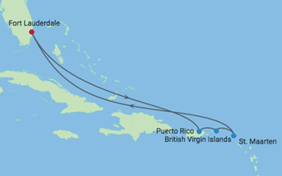 Gay Travel Destinations | 7 Night Inaugural Caribbean Voyage Iinerary Map
