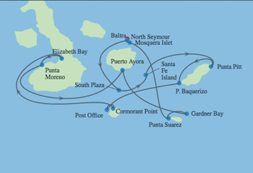 Celebrity Cruises | 16-Night Galapagos Southern Loop and Machu Picchu Tour Iinerary Map