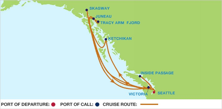 Celebrity Cruises | 7-Nights Roundtrip from Seattle Cruise Iinerary Map