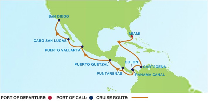 Celebrity Cruises | 15-Nights from Miami to San Diego Cruise Iinerary Map