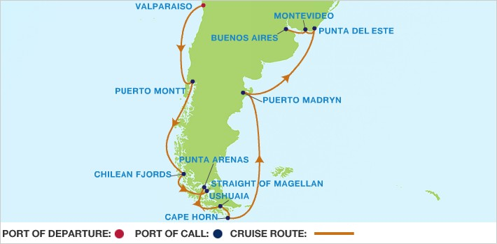 Celebrity Cruises | 15-Nights from Valparaiso to Buenos Aires Cruise Iinerary Map