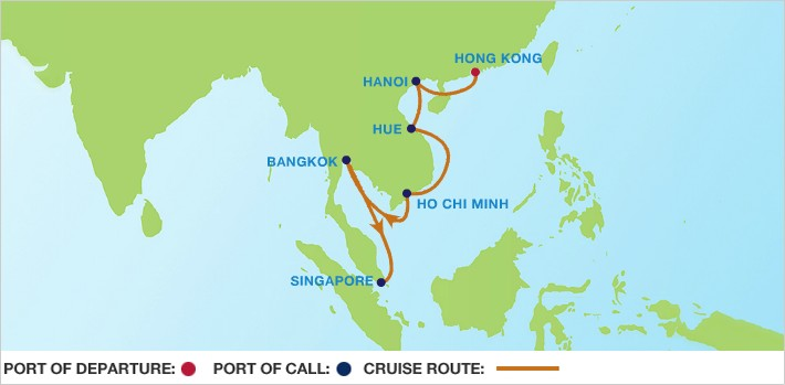 Celebrity Cruises | 14-Nights from Hong Kong to Singapore Cruise Iinerary Map