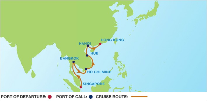 Celebrity Cruises | 14-Nights from Singapore to Hong Kong Cruise Iinerary Map