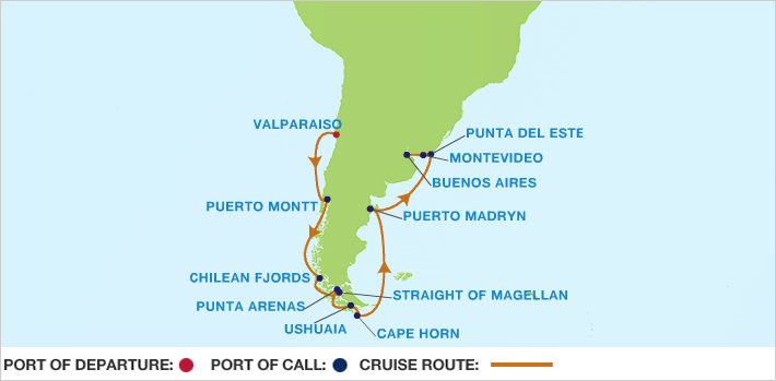 Celebrity Cruises | 14-Nights from Valparaiso to Buenos Aires Cruise Iinerary Map