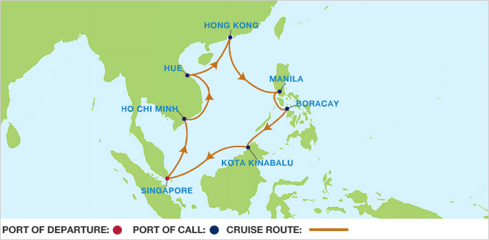 Celebrity Cruises | 14-Nights Roundtrip from Singapore Cruise Iinerary Map