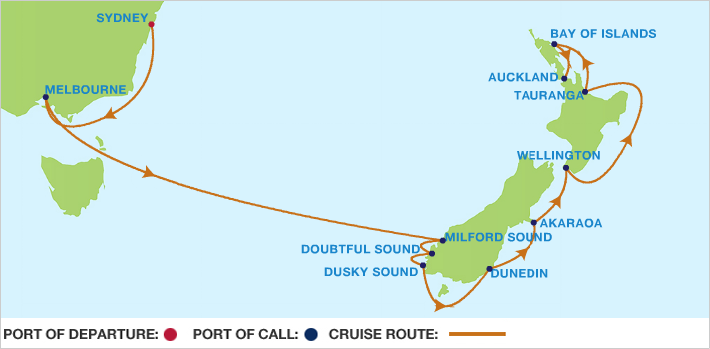 Celebrity Cruises | 12-Nights from Sydney to Auckland Cruise Iinerary Map