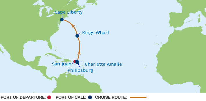 Celebrity Cruises | 8-Nights from San Juan to Cape Liberty Cruise Iinerary Map