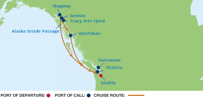 Celebrity Cruises | 7-Nights from Seattle to Vancouver Cruise Iinerary Map
