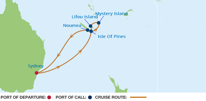 Celebrity Cruises | 9-Nights Roundtrip from Sydney Cruise Iinerary Map