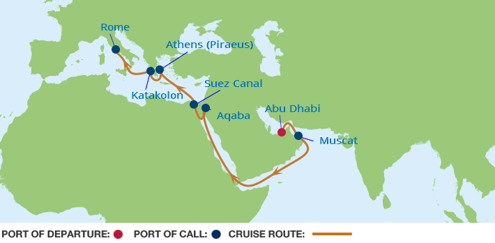 Celebrity Cruises | 15-Nights from Abu Dhabi to Rome Cruise Iinerary Map