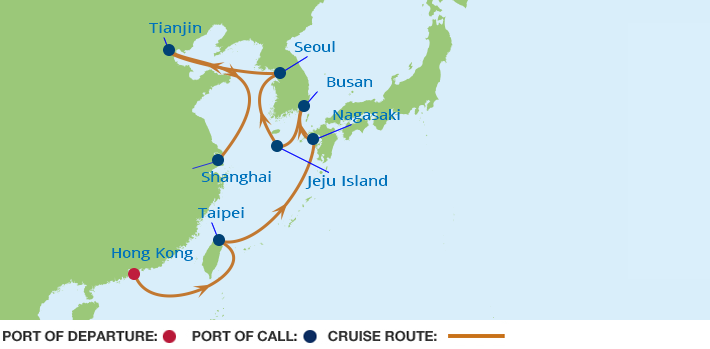 Celebrity Cruises | 14-Nights from Hong Kong to Shanghai Cruise Iinerary Map