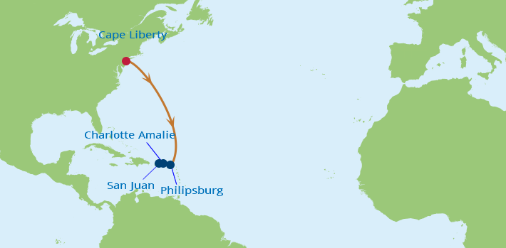 Celebrity Cruises | 6-Nights from Cape Liberty to San Juan Cruise Iinerary Map