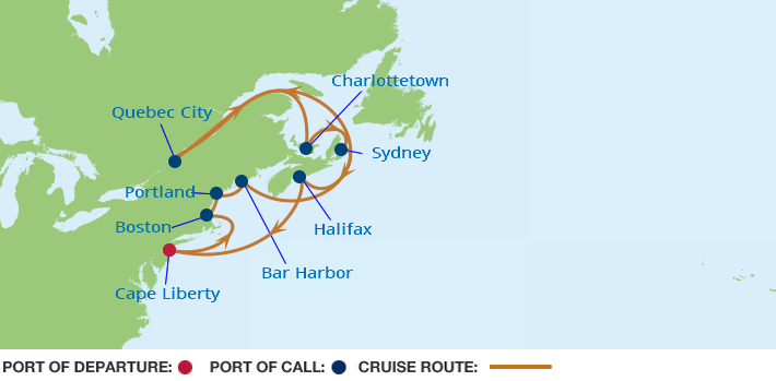 Celebrity Cruises | 14-Nights Roundtrip from Cape Liberty Cruise Iinerary Map