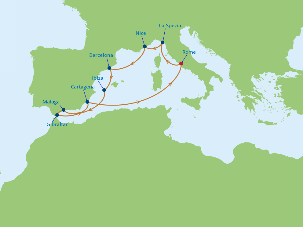 Celebrity Cruises | 11-Nights Roundtrip from Rome Cruise Iinerary Map