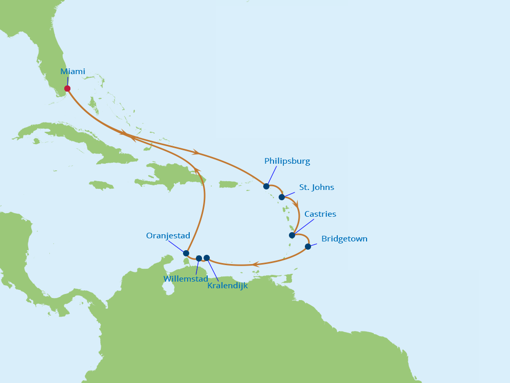 Celebrity Cruises | 14-Nights Roundtrip from Miami Cruise Iinerary Map