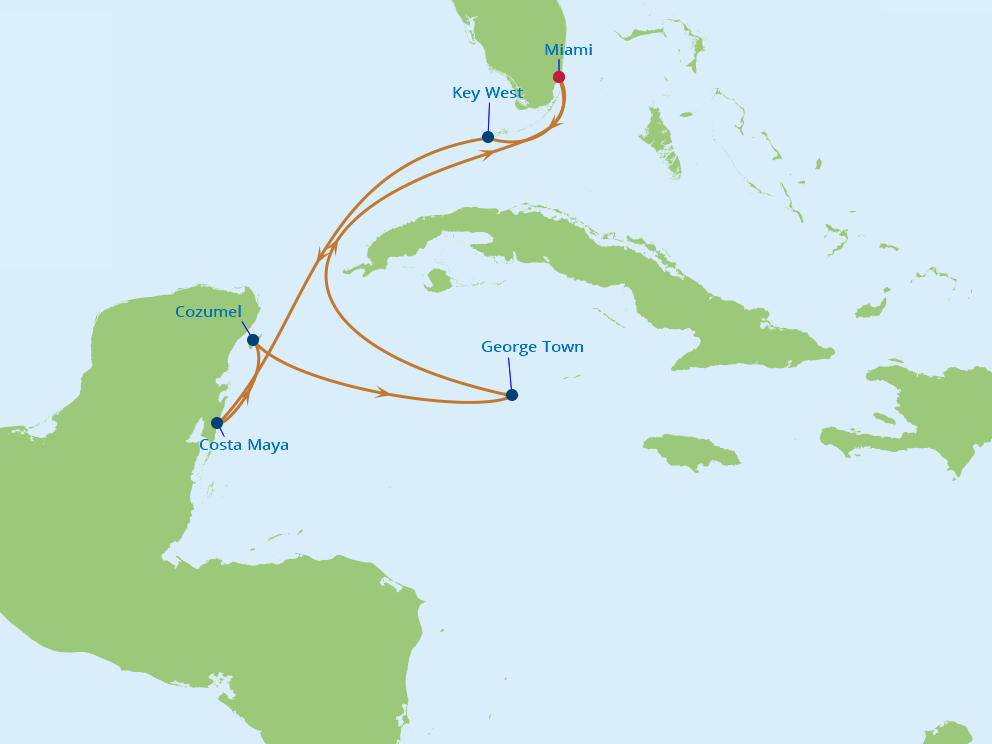 Celebrity Cruises | 7-Nights Roundtrip from Miami Cruise Iinerary Map