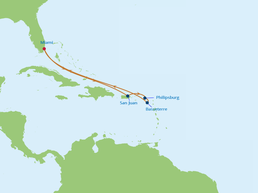 Celebrity Cruises   7-Nights Roundtrip from Miami Cruise Iinerary Map
