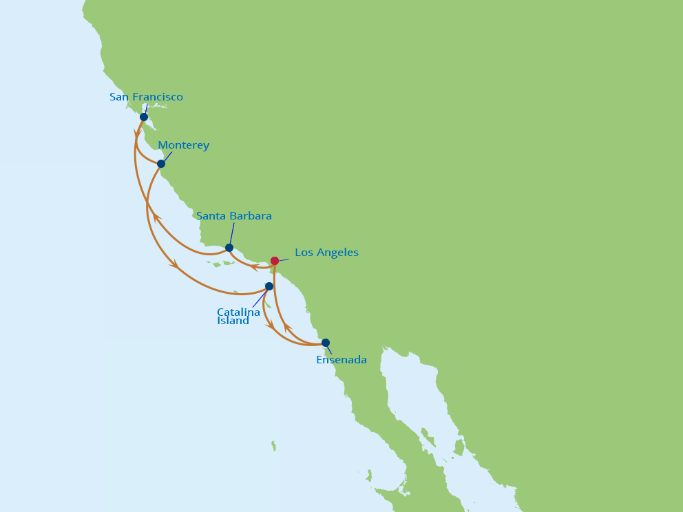 Celebrity Cruises | 8-Nights Roundtrip from Los Angeles Cruise Iinerary Map