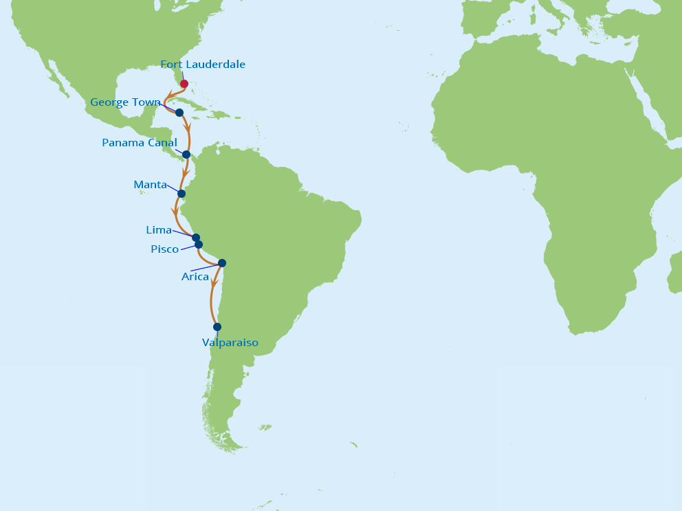 Celebrity Cruises | 15-Nights from Fort Lauderdale to Valparaiso Cruise Iinerary Map