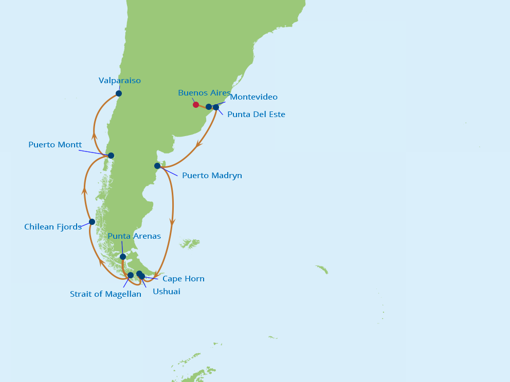 Celebrity Cruises | 15-Nights from Buenos Aires to Valparaiso Cruise Iinerary Map