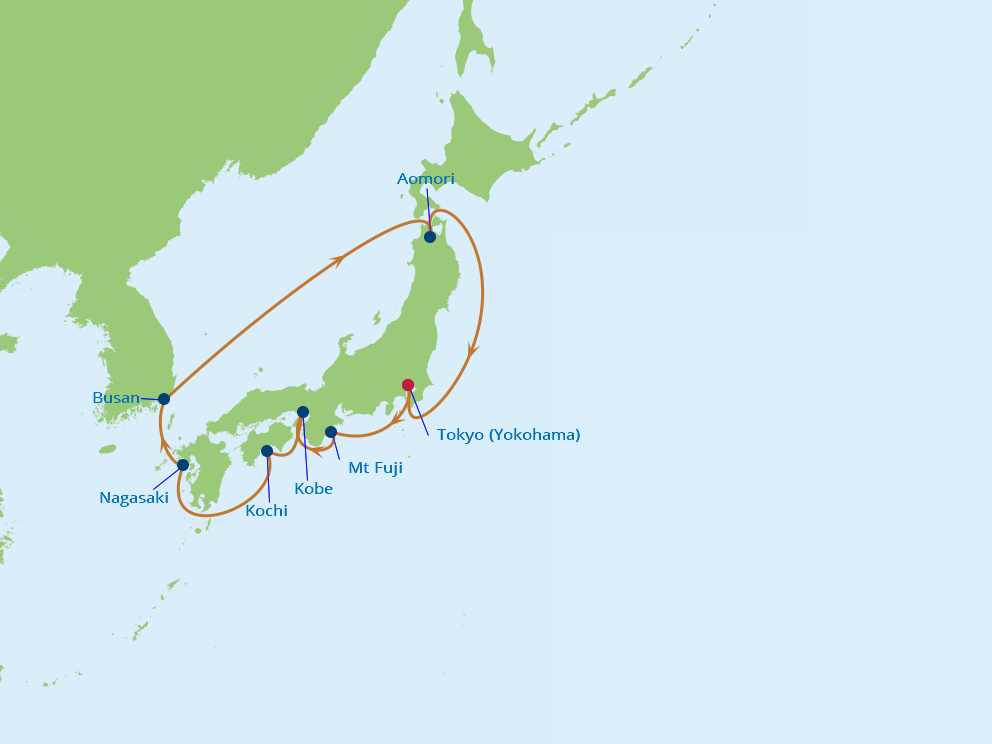 Celebrity Cruises | 11-Nights Roundtrip from Tokyo Cruise Iinerary Map