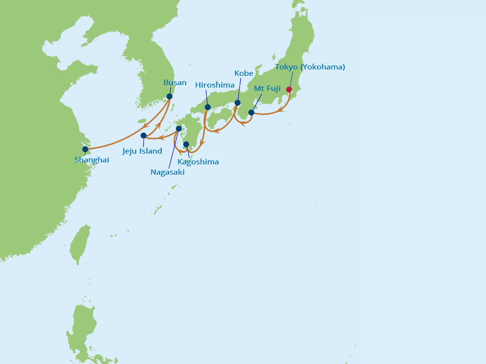 Celebrity Cruises | 12-Nights from Tokyo to Shanghai Cruise Iinerary Map
