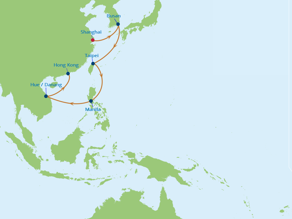 Celebrity Cruises | 12-Nights from Shanghai to Hong Kong Cruise Iinerary Map