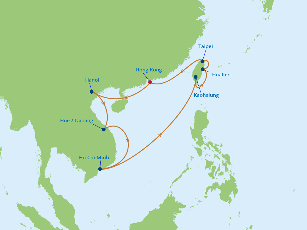 Celebrity Cruises | 14-Nights Roundtrip from Hong Kong Cruise Iinerary Map