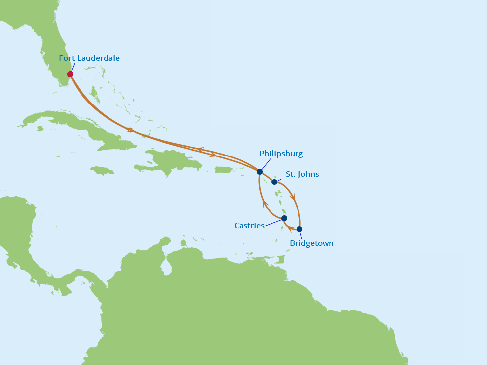 Celebrity Cruises | 10-Nights Roundtrip from Fort Lauderdale Cruise Iinerary Map