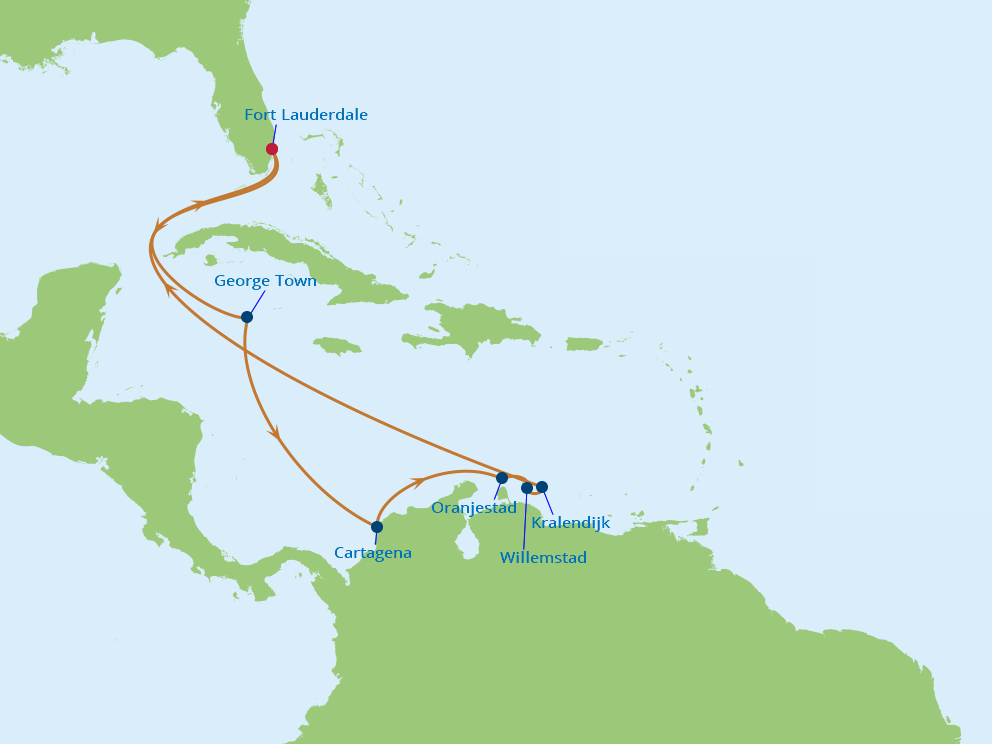 Celebrity Cruises | 11-Nights Roundtrip from Fort Lauderdale Cruise Iinerary Map