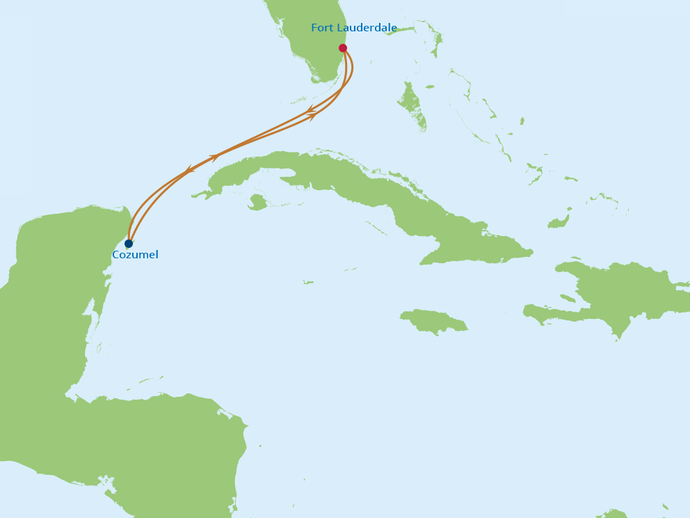 Celebrity Cruises | 4-Nights Roundtrip from Fort Lauderdale Cruise Iinerary Map