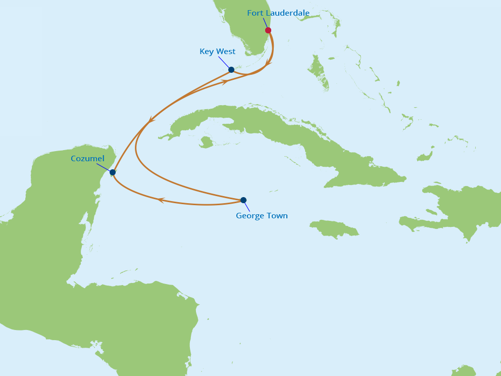 Celebrity Cruises | 6-Nights Roundtrip from Fort Lauderdale Cruise Iinerary Map