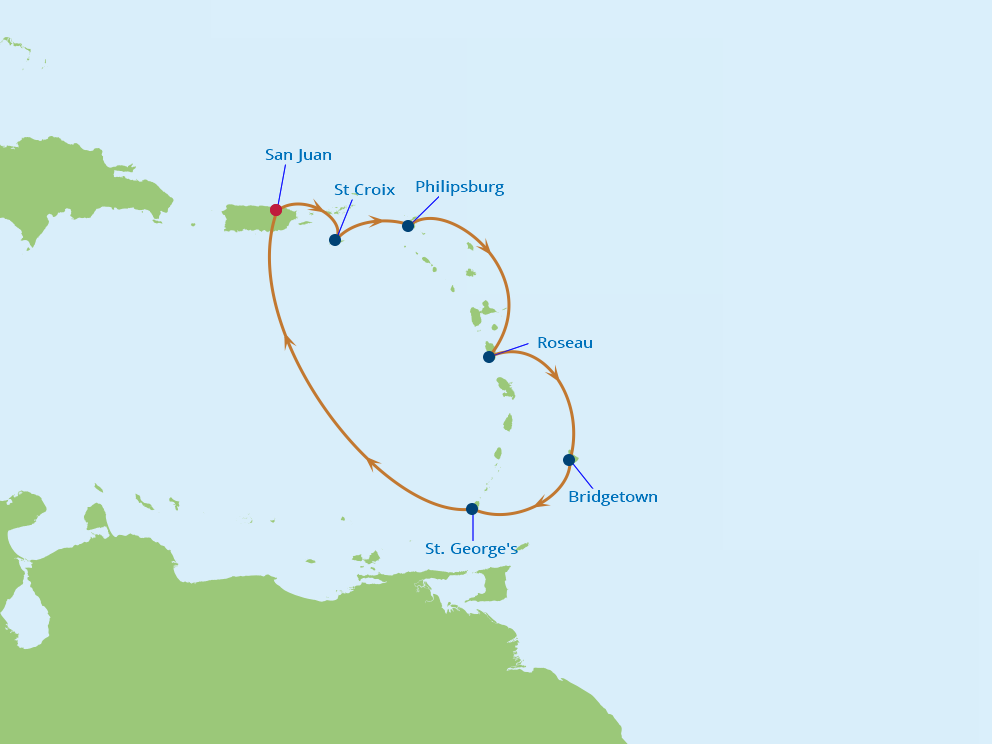 Celebrity Cruises | 7-Nights Roundtrip from San Juan Cruise Iinerary Map