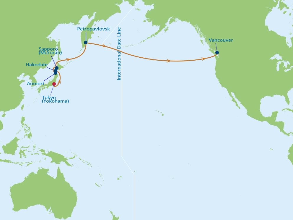 Celebrity Cruises | 14-Nights from Tokyo to Vancouver Cruise Iinerary Map