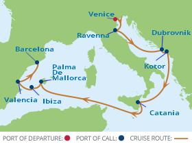 Celebrity Cruises   16 Night Italy & Mediterranean Explorations Iinerary Map