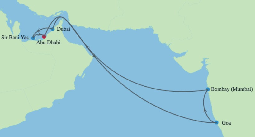 Celebrity Cruises | 14-Nights Roundtrip from Abu Dhabi Cruise Iinerary Map