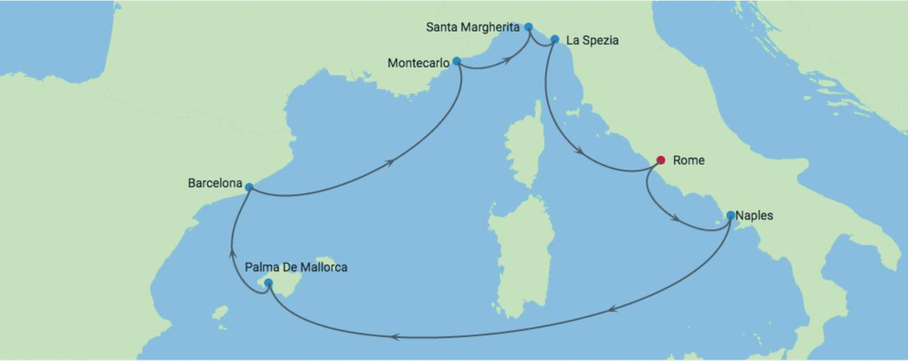 Celebrity Cruises | 9-Nights Roundtrip from Rome Cruise Iinerary Map