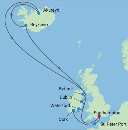Celebrity Cruises | 21-Night African Safari & Iceland / Ireland Cruise Iinerary Map