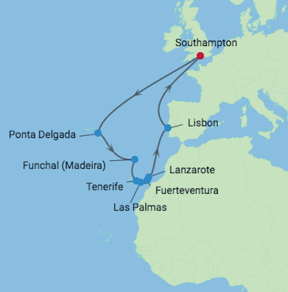 Celebrity Cruises | 21-Night African Safari & Canaries / Azores Cruise Iinerary Map