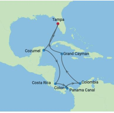Celebrity Cruises | 12-Nights Roundtrip from Tampa Cruise Iinerary Map