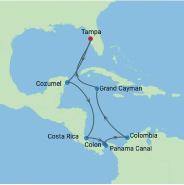 Celebrity Cruises | 11-Nights Roundtrip from Tampa Cruise Iinerary Map