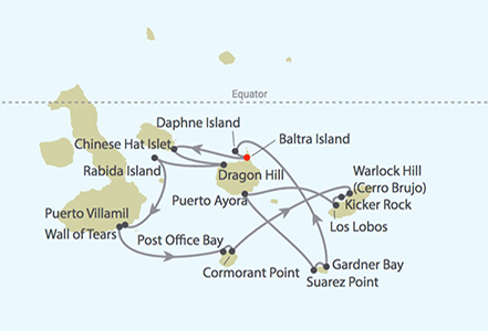 Celebrity Cruises | 11-Nights Galapagos Southern Loop and Quito Tour Iinerary Map