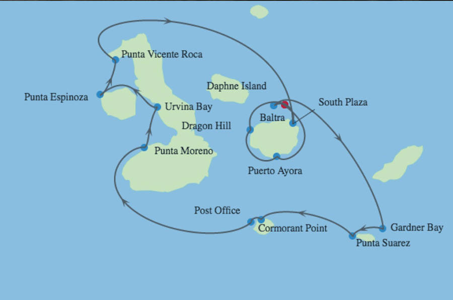 Celebrity Cruises | 10-Night Galapagos Outer Loop and Quito Tour  Iinerary Map