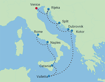 Celebrity Cruises | 10-Nights from Venice to Rome Cruise Iinerary Map