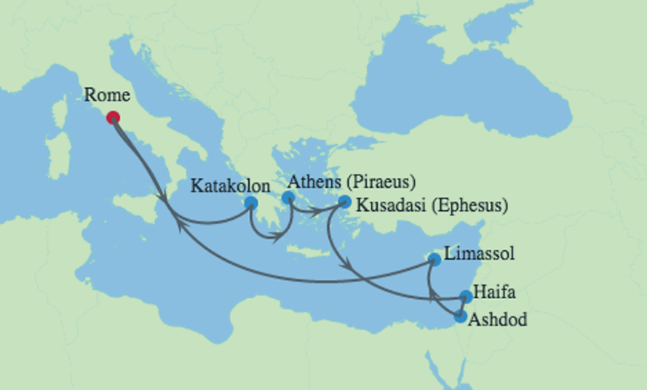 Celebrity Cruises | 12-Nights Roundtrip from Rome Cruise Iinerary Map